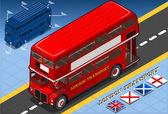 Isometric Double Decker Bus in Front View — Stock Vector