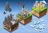Isometric Infographic Petroleum Energy Harvesting Diagram — Stock Vector