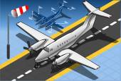 Isometric White Private Plane  — Vettoriale Stock