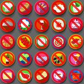 Twenty Five Circular Flat Icon Italian Food Prohibition — 图库矢量图片