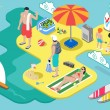 Isometric Beach Life - Summer Holidays Concept — Stock Vector #65463387