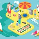 Isometric Beach Life - Summer Holidays Concept  — Stock Vector #65463387