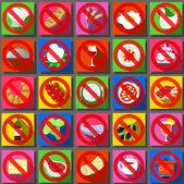 Twenty Five Square Flat Icon Italian Food Prohibition — Stock Vector