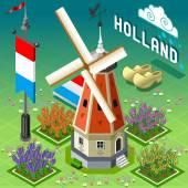 Isometric Holland Barn - Windmill Building — Stock Vector