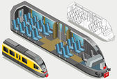 Isometric High Speed Subway Longitudinal Section — Stock Vector