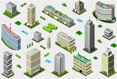 Isometric Megalopolis Building Set — Stock Vector