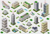 Isometric Megalopolis Building Collection — Stock Vector
