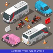 Isometric Flat 3d Vehicle Tourism Set — Wektor stockowy