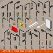 Urban Traffic Management Set Isometric — ストックベクタ #73454907