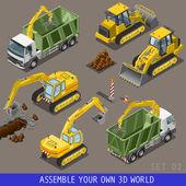 City Construction Transport Isometric Flat 3d Icon Set — Stock Vector