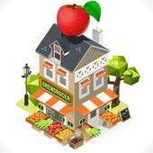 Greengrocer Shop City Building 3D Isometric — Stock Vector