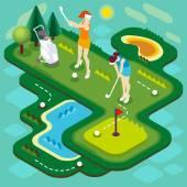Golf Match People Isometric — Stock Vector