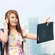 Beautiful business woman walking outside her office. Portrait of — Stock Photo #71769895