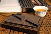Närbild på kinesiska gamla butik, fokus på kalligrafi — Stockfoto