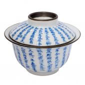 Chinese antieke blauwe en witte thee kom, dekking en schotel — Stockfoto
