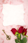 Blank paper with red rose and old key — Stock Photo