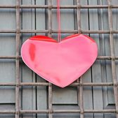 Red heart hanging on the grid on Valentine's day — Stock Photo
