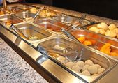 Trays with food in the canteen of the self-service restaurant — Stock Photo