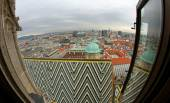 Panoramic view from the steeple of St. Stephen's Cathedral in VI — Stock Photo