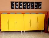 Children's lockers in the locker room of the nursery — Stock Photo