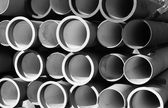 Tubes for waterworks and sewer system of the city — Stock Photo
