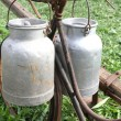 Bike of the milkman with two old milk cans — Stock Photo #53891797