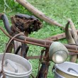 Old bike of the milkman with bins for milk — Stock Photo #53891863