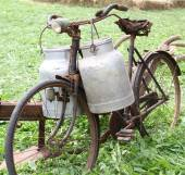 Rusty old bike of the milkman with two old milk cans and broken  — Stock Photo