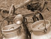 Bike of the milkman with old bins for milk sepia — Stock Photo