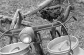 Rusty bike of the milkman with bins for milk — Stock Photo