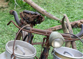 Old bike of the milkman with bins for milk — Stock Photo