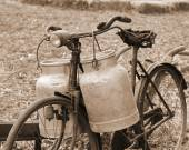 Rusty bike of a milkman of the last century with two bins — Stock Photo