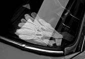 Vintage perforated leather gloves for the vintage car race — Foto Stock