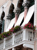 Flowery balcony on an ancient Venetian Palace — Photo