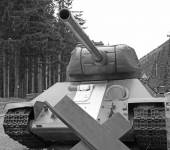 Big tank warfare with large cannon in black and White — Stock Photo