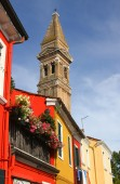 Bell tower of BURANO near Venice in Italy — 图库照片