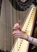 Hands of woman strumming the strings of an ancient harp — Stock Photo