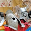Helmets of ancient Roman origin and medieval helmets of brave kn — Stock Photo #55692599