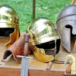 Постер, плакат: Armor and helmets of ancient Roman origin and medieval helmets o