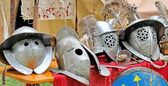 Helmets of ancient Roman origin and medieval helmets of brave kn — Stock Photo