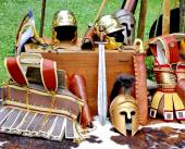 Armor and helmets of ancient Roman origin and medieval helmets o — Stock Photo