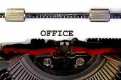 OFFICE written with black ink with the typewriter — Stock Photo