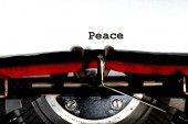 Peace written with black ink with the typewriter — Stock Photo