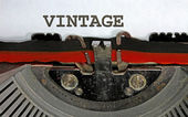 Vintage written with black ink with the typewriter — Stock fotografie