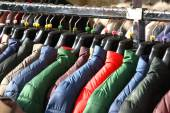 Winter JACKETS for sale at shopping center — Foto de Stock