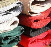 Italian manufacture fabrics for sale in haberdashery — Stock Photo