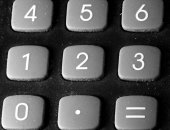 Numbers rubber keys of the calculator — Stok fotoğraf