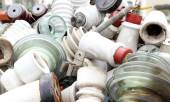 Ceramic insulators in an old dump obsolete material and hazardou — Foto de Stock