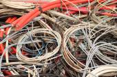 Electrical copper cables in a special waste landfill — Stock Photo
