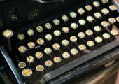 Antique typewriter with white keys — Stock Photo